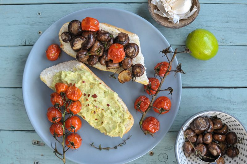 Mashed Avocado and Mushrooms on toast