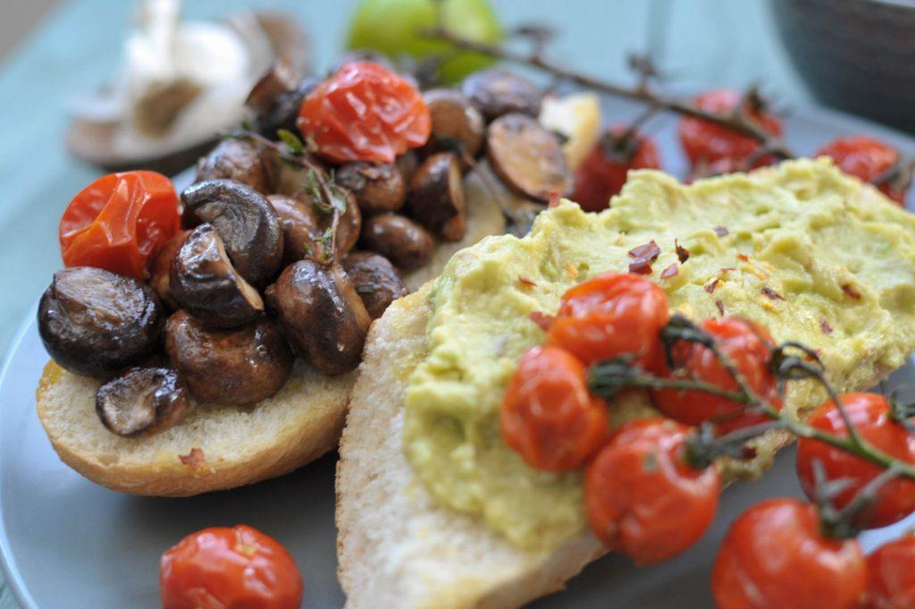 avocado and mushrooms on toast