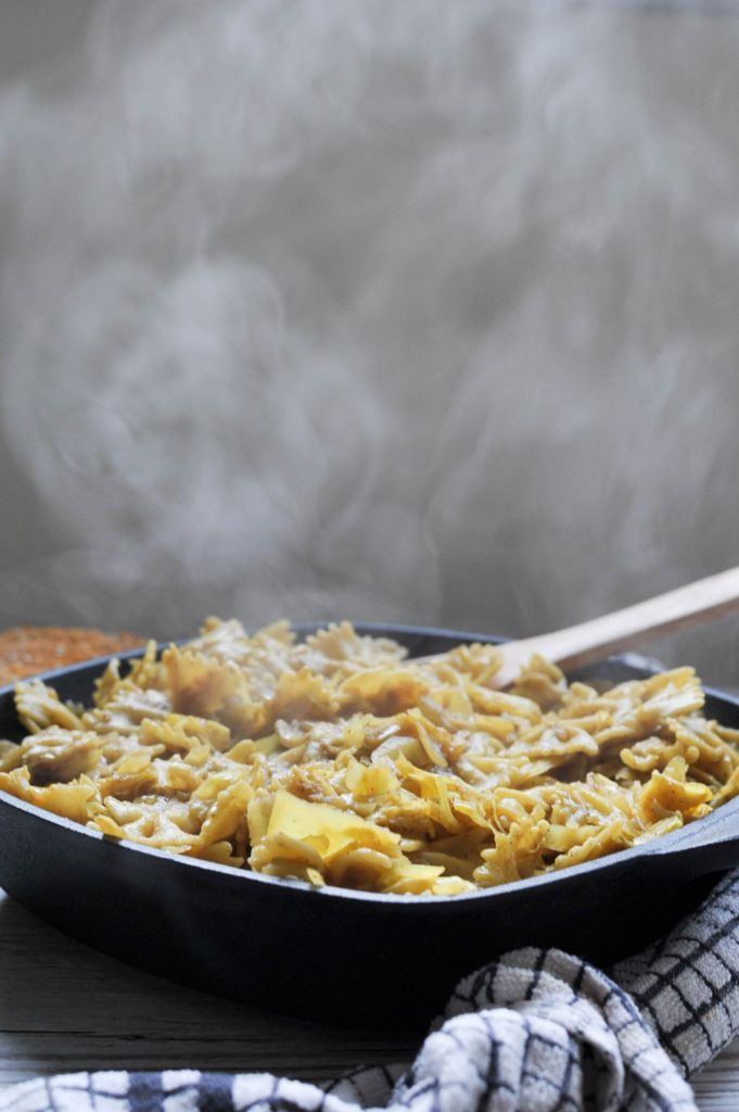 caramelised onion and cabbage pasta