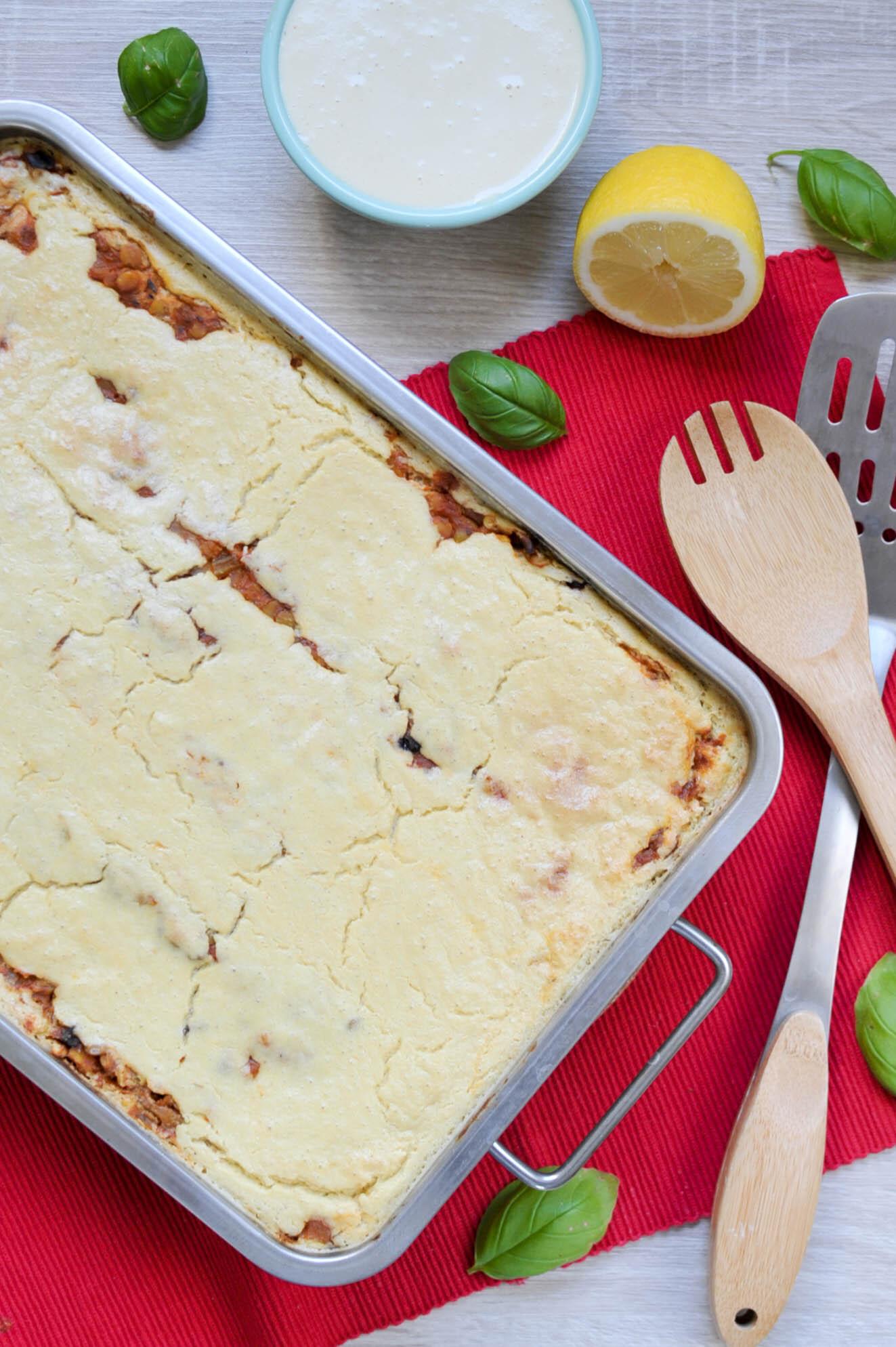 Vegan mushroom and lentil lasagna