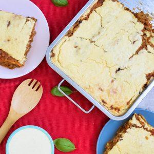 Mushroom and lentil vegan lasagna