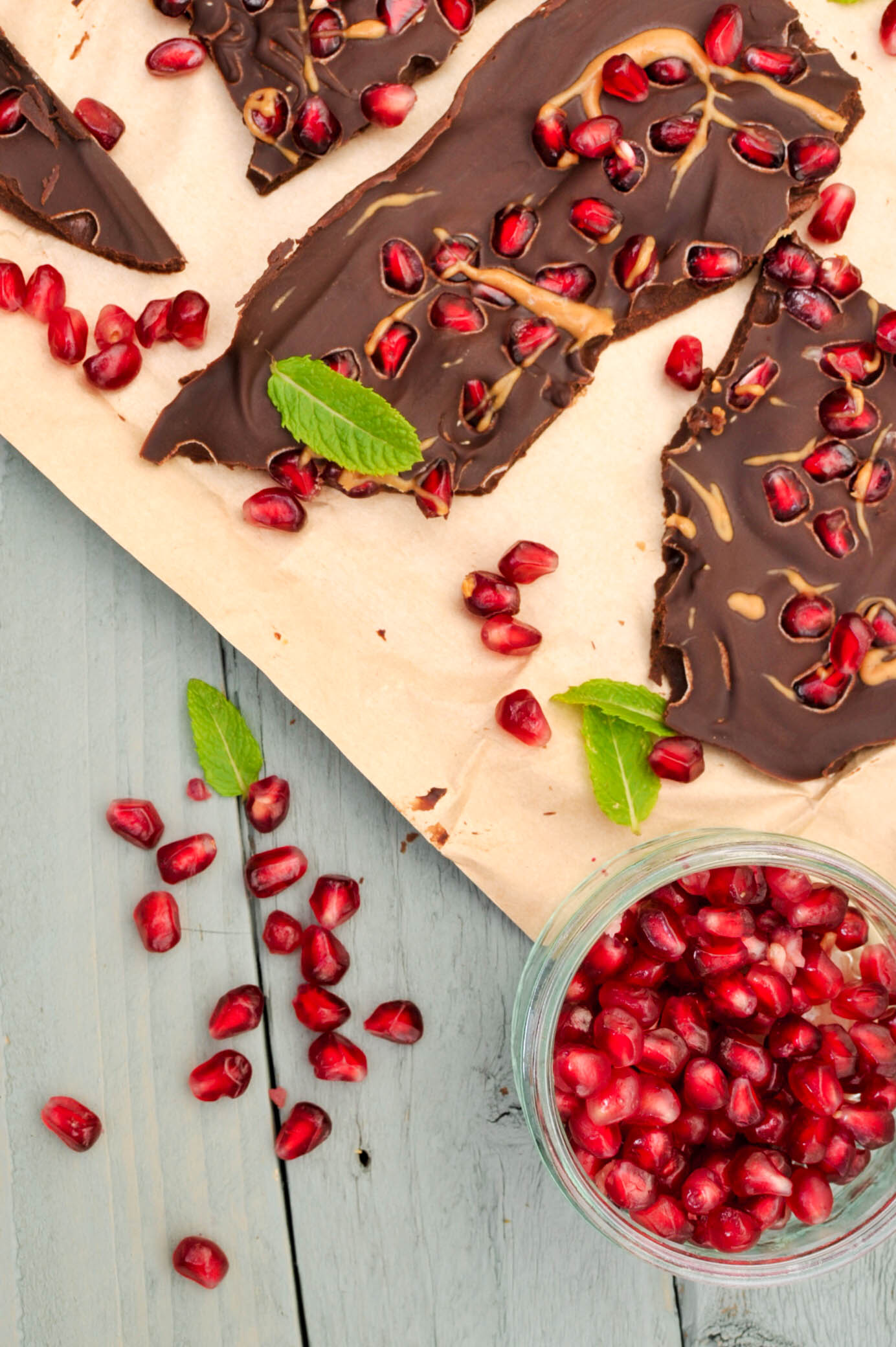 pomegranate and peanut butter chocolate bark