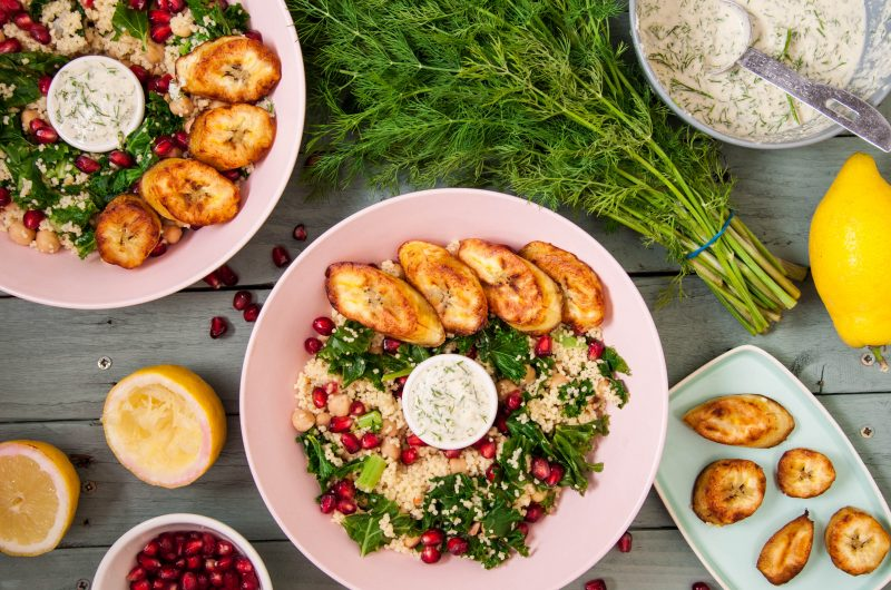 Couscous kale salad with plantain and dill sauce